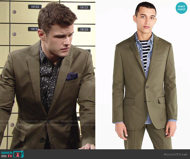J. Crew Ludlow Jacket in Streetscape Green worn by Michael Mealor on The Young & the Restless