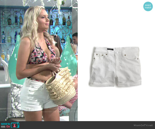 J. Crew Midrise White Denim Shorts worn by Melissa Ordway on The Young & the Restless