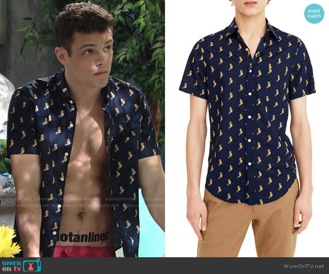 J. Crew Seahorse Print Shirt worn by Kyle Abbott (Michael Mealor) on The Young & the Restless