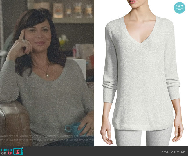 V-Neck Lurex Sweater by Joan Vass worn by Cassandra Nightingale (Catherine Bell) on Good Witch