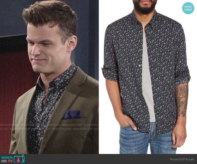 John Varvatos Charcoal Floral Shirt worn by Michael Mealor on The Young & the Restless