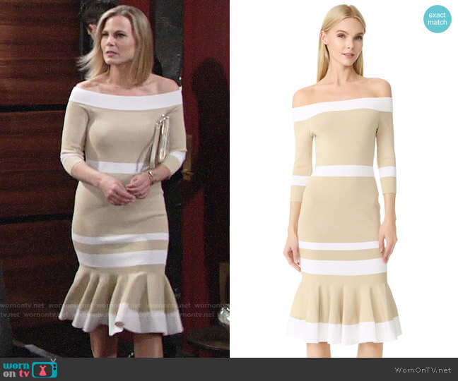 Jonathan Simkhai Bold Stripe Off Shoulder Trumpet Dress worn by Phyllis Newman (Gina Tognoni) on The Young & the Restless