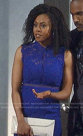 Jordan's blue lace sheath dress on General Hospital