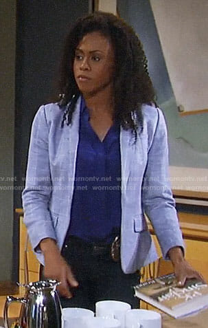 Jordan's grey windowpane blazer on General Hospital