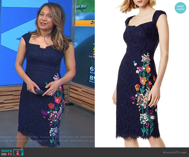 Embroidered Lace Sheath Dress by Karen Millen worn by Ginger Zee on Good Morning America