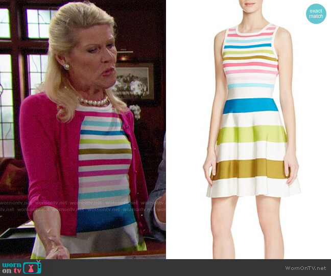 Karen Millen Rainbow Stripe Knit Sweater Dress worn by Alley Mills on The Bold & the Beautiful