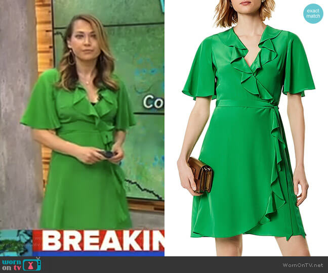 Ruffled Silk Wrap Dress by Karen Millen worn by Ginger Zee  on Good Morning America