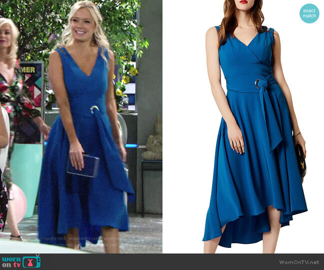 Karen Millen Belted High/Low Midi Dress worn by Melissa Ordway on The Young & the Restless