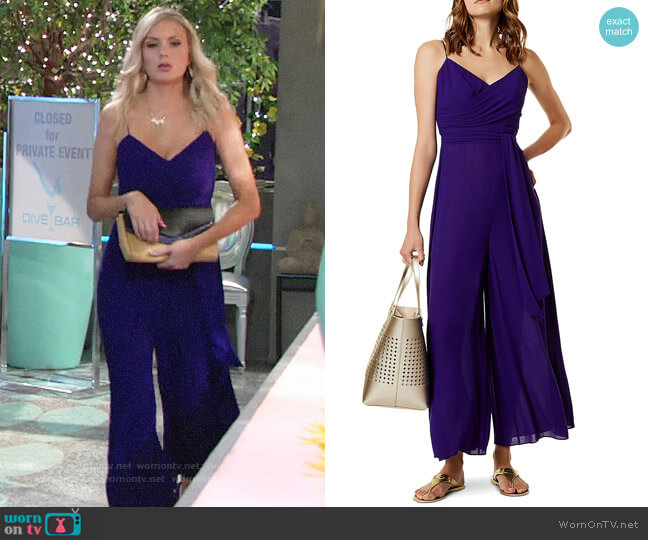 Karen Millen Belted Wide Leg Jumpsuit worn by Melissa Ordway on The Young & the Restless