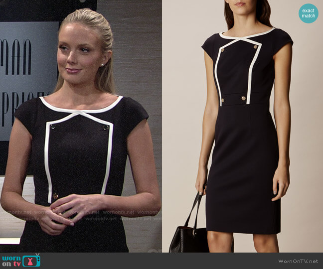 Karen Millen Button Detail Pencil Dress worn by Melissa Ordway on The Young & the Restless