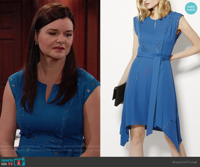 Karen Millen Grommet Detail Dress worn by Katie Logan (Heather Tom) on The Bold & the Beautiful