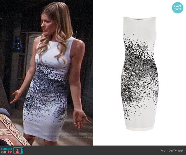 Karen Millen Pixel Jacquard Dress worn by Nina Reeves (Michelle Stafford) on General Hospital