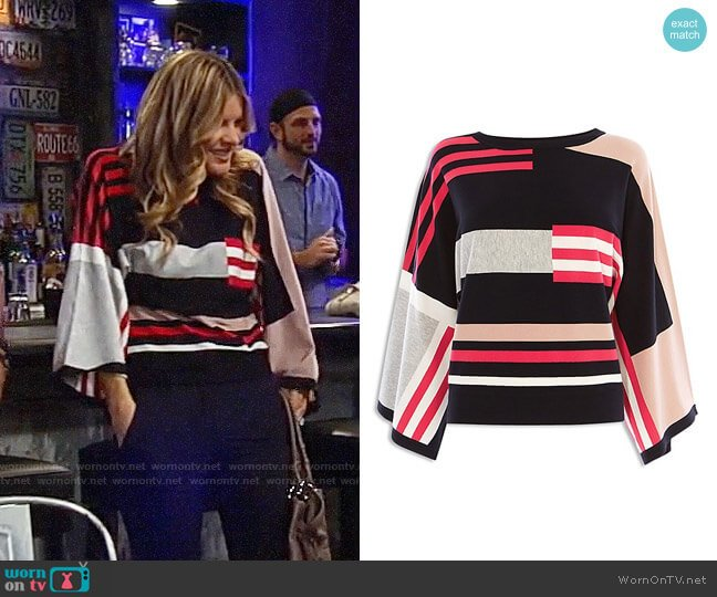 Karen Millen Striped Color-Block Sweater worn by Nina Reeves (Michelle Stafford) on General Hospital