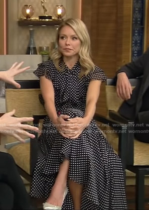 Kelly's black polka dot ruffle midi dress on Live with Kelly and Ryan