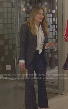 Kelsey's grey heart grid checked suit on Younger