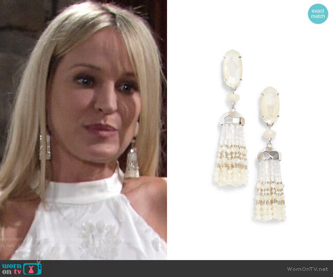 Kendra Scott Dove Tassel Earrings worn by Sharon Collins (Sharon Case) on The Young & the Restless