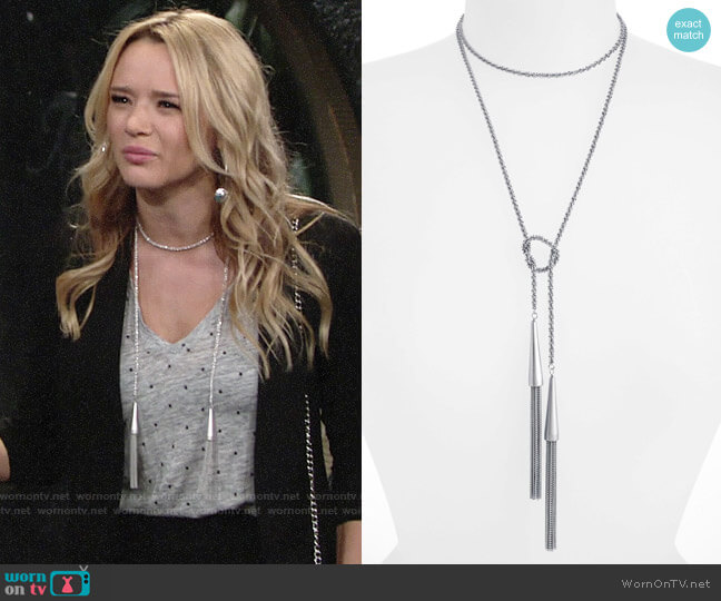 Kendra Scott Phara Tassel Necklace worn by Hunter King on The Young & the Restless