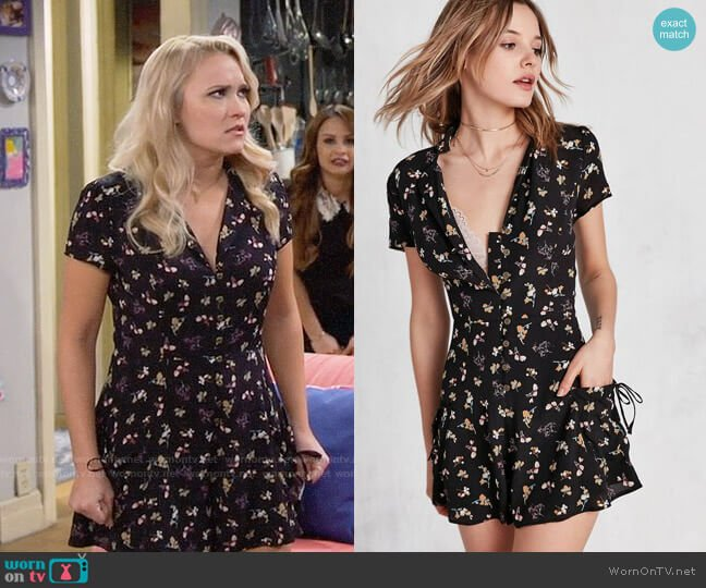 Kimchi Blue Beth Ann Collared Shirt Romper worn by Gabi Diamond (Emily Osment) on Young & Hungry