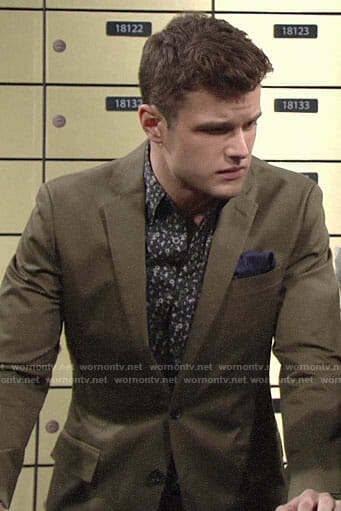 Kyle's black floral shirt and green blazer on The Young and the Restless