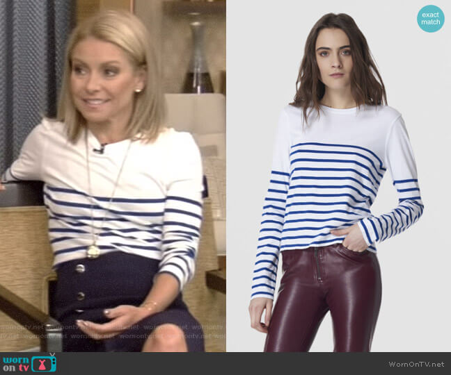 Lean Lines Tee by La Ligne worn by Kelly Ripa  on Live with Kelly & Ryan
