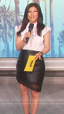 Julie's white ruffle blouse and leather asymmetric skirt on The Talk