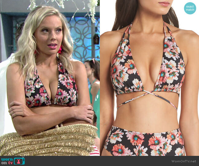 Leith Coral Glow Sunflower Bikini worn by Melissa Ordway on The Young & the Restless