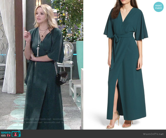 Leith Kimono Maxi Dress worn by Summer Newman (Hunter King) on The Young & the Restless