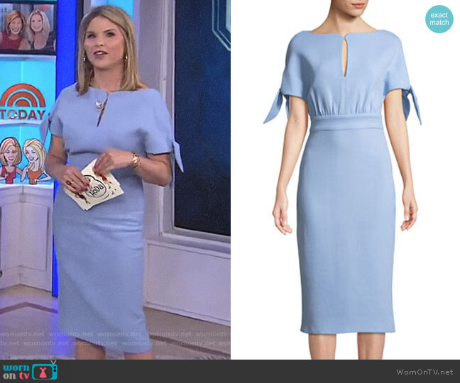 Bow-Tie Cape-Sleeve Wool-Blend Sheath Dress by Lela Rose worn by Jenna Bush Hager  on Today