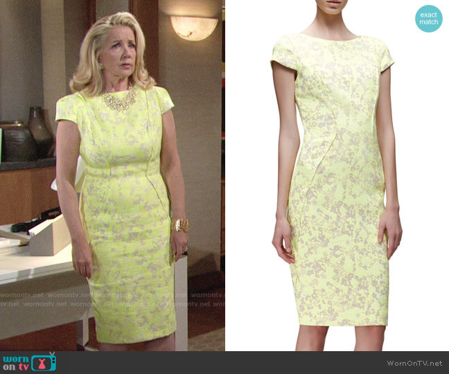 Lela Rose Cap-Sleeve Floral-Print Sheath Dress worn by Nikki Reed Newman (Melody Thomas-Scott) on The Young & the Restless