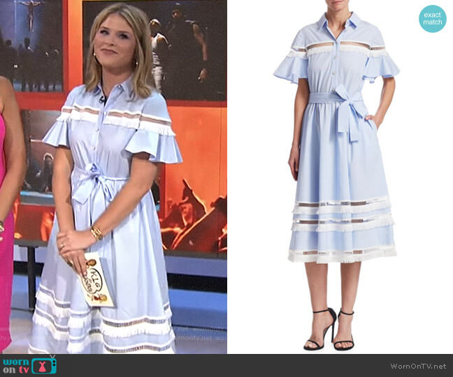 Cotton Shirt Dress by Lela Rose worn by Jenna Bush Hager on Today