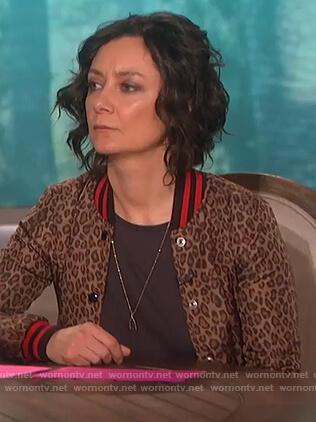 Sara's leopard print bomber jacket on The Talk