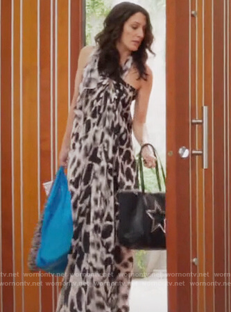 Abby's animal print halter neck dress on Girlfriends Guide to Divorce