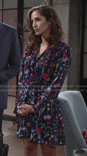 Lily's blue floral dress on The Young and the Restless