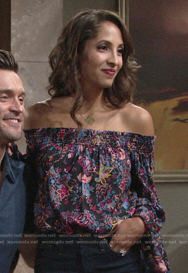 Lily's floral off-shoulder bell sleeve blouse on The Young and the Restless