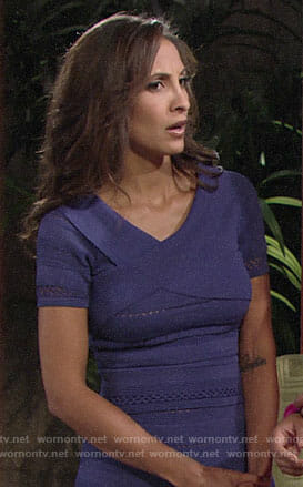 Lily's purple ribbed dress on The Young and the Restless