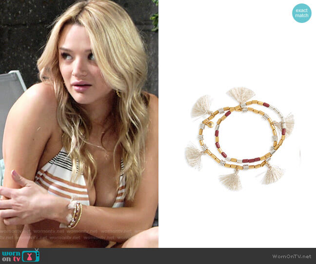 Madewell Set of 2 Beaded Tassel Bracelets worn by Hunter King on The Young & the Restless