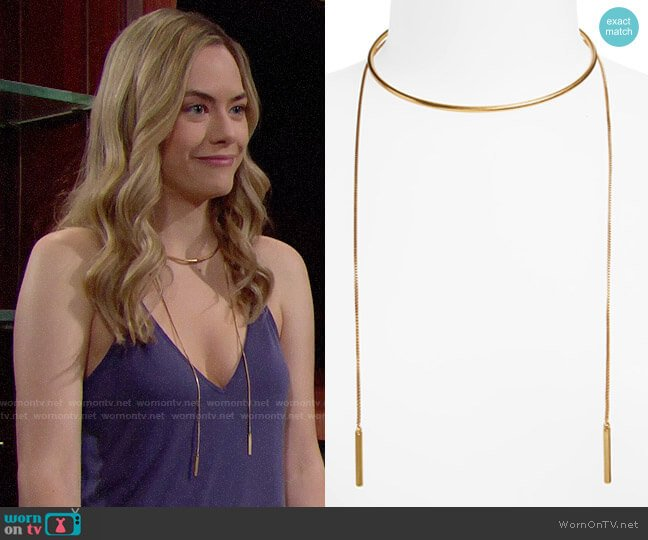 Madewell Chain Choker Necklace worn by Hope Logan (Annika Noelle) on The Bold & the Beautiful