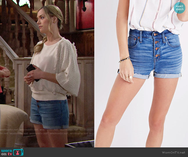 Madewell High-rise Denim Boyshorts Button-through Edition worn by Annika Noelle on The Bold & the Beautiful