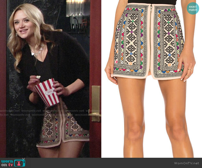 Majorelle Port Skirt worn by Hunter King on The Young & the Restless