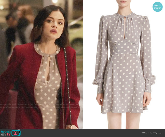 Marc Jacobs Polka Dot Silk Crêpe de Chine Dress worn by Stella Abbott (Lucy Hale) on Life Sentence