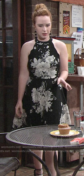 Mariah's black and white floral dress on The Young and the Restless