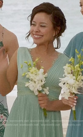 Mariana's mint green pleated gown on The Fosters