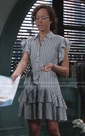 Mattie's striped ruffled dress on The Young and the Restless