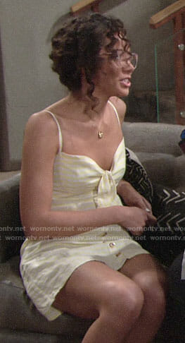 Mattie's yellow button front dress on The Young and the Restless