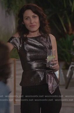 Abby's metallic asymmetric top on Girlfriends Guide to Divorce