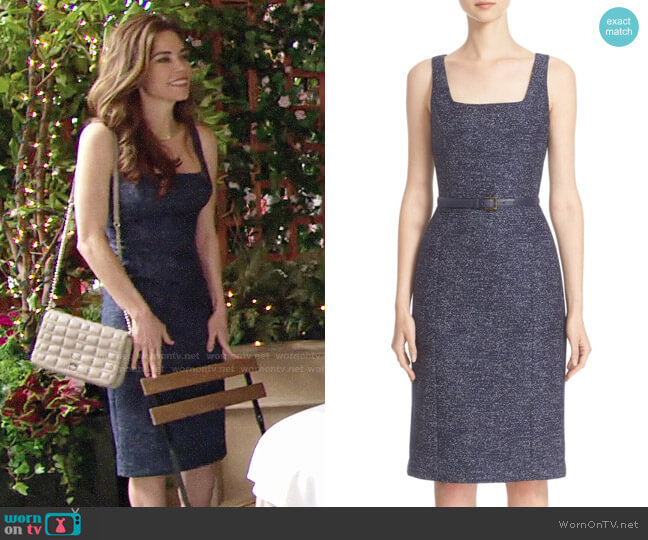 Michael Kors Wool Jacquard Dress worn by Victoria Newman (Amelia Heinle) on The Young & the Restless