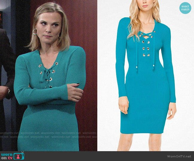 MICHAEL Michael Kors Lace Up Ribbed Dress worn by Phyllis Newman (Gina Tognoni) on The Young & the Restless