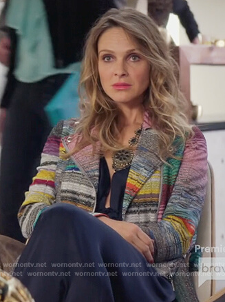 Phoebe's multicolored striped moto jacket on Girlfriends Guide to Divorce