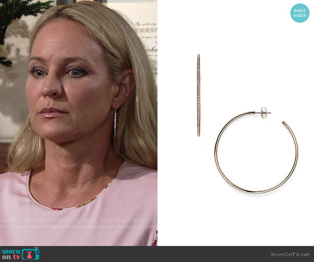 Nadri Pavé Hoop Earrings worn by Sharon Case on The Young & the Restless