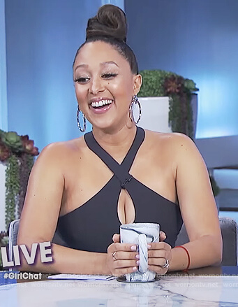 Tamera's navy halter neck keyhole dress on The Real